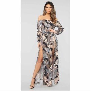 Hawaiian Floral Palm Print Maxi Dress